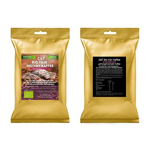 C&T Bio Instant Kaffee Löskaffee, 250g fair gehandelt, fein aromatisch, löslicher Kaffee gefriergetrocknet ohne Koffein