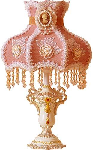 Mode Individualiteit Creatieve Europese stijl Woonkamer Tafellamp Slaapkamer Nachtlampje Meisjeskamer Roze tafellamp met hanger, knopschakelaar Bureaulamp