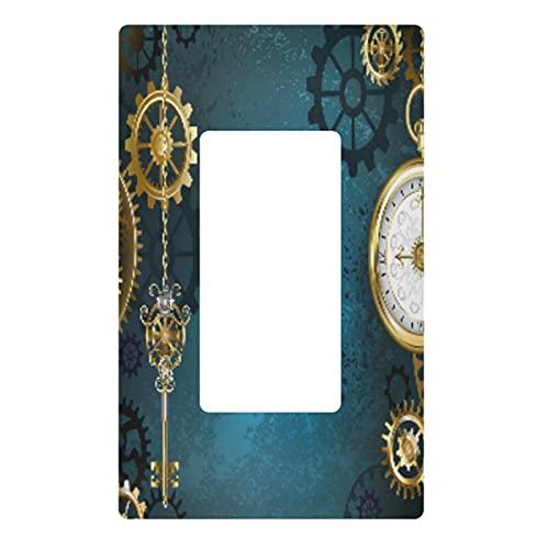 Placa decorativa de pared con interruptor de luz – Steampunk Gold Engranajes reloj enchufes interruptor cubierta de la placa, cubierta de salida eléctrica para dormitorio cocina decoración del hogar