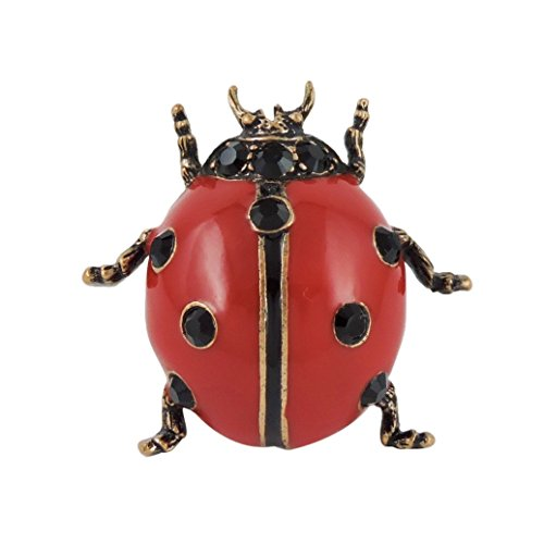 スワロフスキー 昆虫 2WAY エナメル ブローチ てんとう虫 てんとうむし テントウムシ / レッド 赤