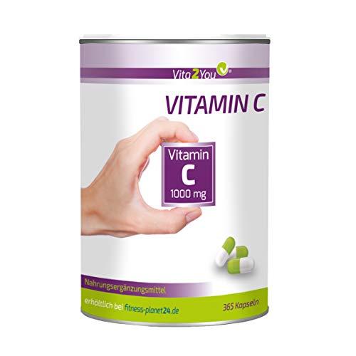 Vitamin C 1000mg - 365 Kapseln - 1000mg pro Kapsel - Vitamin C - Hochdosiert - Vorratspackung - Premium Qualität