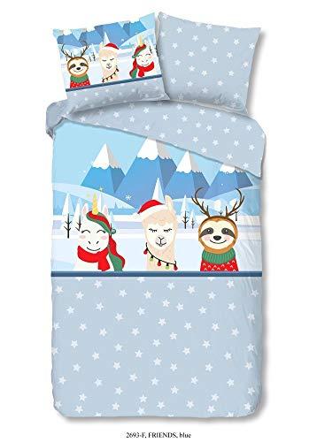 Good Morning! Friends 2693.20.01 - Juego de cama (2 piezas, funda nórdica de 140 x 220 cm, funda de almohada de 60 x 70 cm), color azul