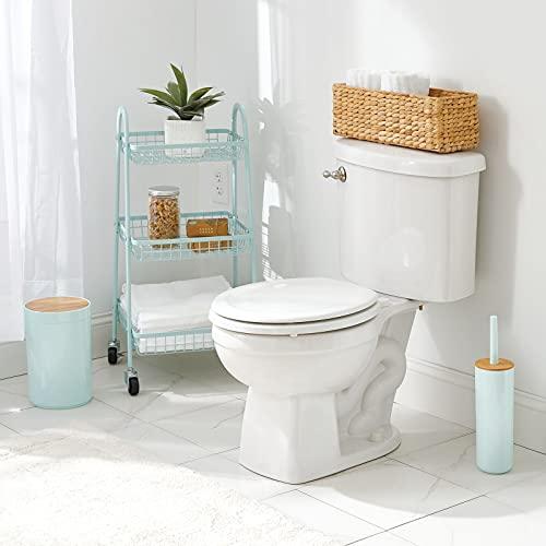 mDesign naturbelassener Flechtkorb aus Wasserhyazinthe – stapelbarer Weidenkorb – ideale Aufbewahrung für das Badezimmer – bambusfarben - 2