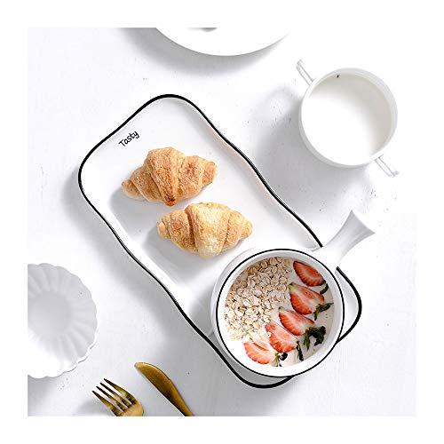 ZLSP Pintado a mano el desayuno Plato Una persona Set de cubiertos, platos Snack-creativa del hogar del plato Tazón Occidental ZLSP