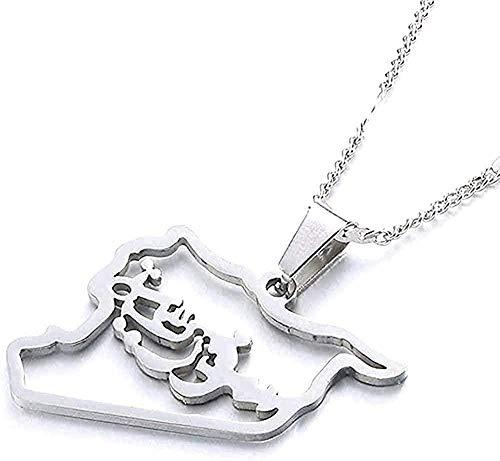 NONGYEYH co.,ltd Collar Collar de Acero Inoxidable Mapa de Siria Collares Pendientes Mapa de Siria Joyería con Encanto