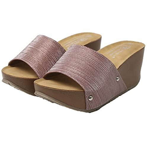 Zapatillas de playa para mujer, deslizadores de piscina al aire libre con purpurina, plataforma de baño, verano, respirador diario, sandalias para el hogar con punta abierta para mujer, zapato