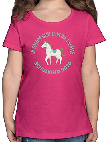 Einschulung und Schulanfang - Im Galopp Schulkind 2020-128 (7/8 Jahre) - Fuchsia - mädchen Schulkind 122 - F131K - Mädchen Kinder T-Shirt