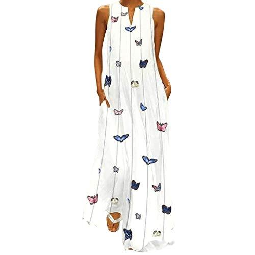 Sommerkleider Damen Langes Kleider Große Größen,Frauen Vintage Täglich Beiläufig Ärmellos Gedruckt Blumen Sommerkleid Strandkleider Tunika Kleid Etuikleid