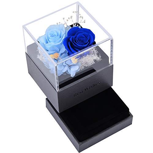 VEUNICEE Rosa Eterna,Natural Rosa Eterna Roja con Caja de Regalo,Rosa Flor Fresca Hecha a Mano,para San Valentín Día de la Madre Aniversario Cumpleaños Navidad. (Azul Cielo+Azul)