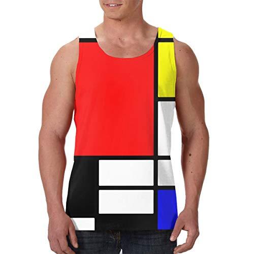 Fengyaojianzhu Mondrian Style Men's Tank Top T-Shirt 3D Printed Sleeveless Vest Black