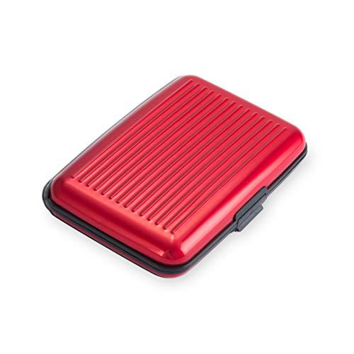 Clamour Stores Cartera con Bloqueo RFID [8 Ranuras | Aluminio] Identificación portátil de Identidad de Viaje | Tarjetero para Tarjetas de crédito con protección Segura para Hombres y Mujeres (Rojo)