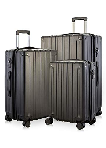 Happy Trolley - 3er Koffer-Set Trolley-Set Rollkoffer Hartschalen-Koffer Reisekoffer Dubai DXB sehr leicht, TSA, (S, M & XL), Schwarz
