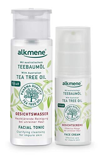 alkmene Teebaumöl Gesichtswasser & Gesichtscreme Set - Anti Pickel, Hautunreinheiten & Rötungen Pflegeset für unreine Haut - vegane Gesichtspflege ohne Silikone, Parabene & Mineralöl