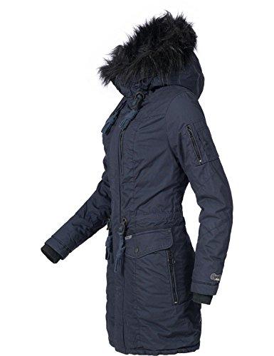 Khujo Damen Winter Mantel Baumwoll Parka YM-Anastina Blau Gr. XL