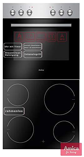 Amica EHC 933 041 E Einbauherd-Set mit Glaskeramik-Kochfeld, SCHOTT CERAN® - Edelstahl