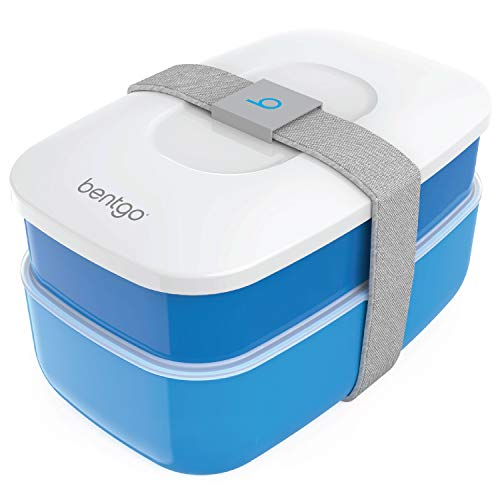 Bentgo Classic - All-in-One Stackable Bento Lunch Box Container - Modern Bento-Style Design Includes 2 Stackable Containers, Built-in Plastic Utensil Set, and Nylon Sealing Strap (Blue)