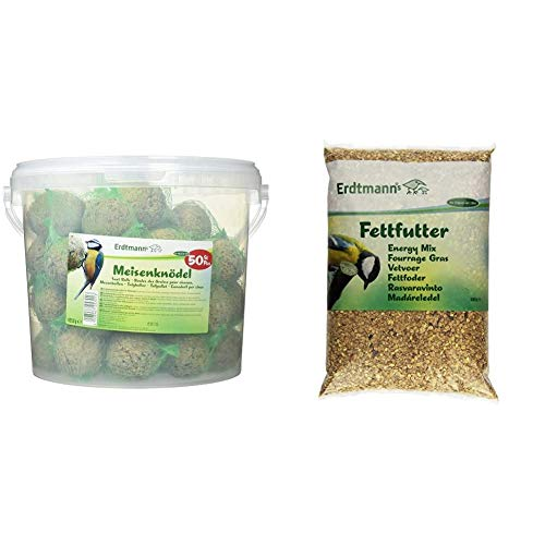 Erdtmanns 50 Meisenknödel im Eimer, 1er Pack (1 x 4.25 kg) & Fettfutter, 1er Pack (1 x 5 kg)
