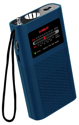 Portable Pocket AM FM Transistor Radio with Emergency Flashlight,Battery Operated by1500mah Rechargeable LI-ION (Included),Ultra-Long Antenna Best Reception(Blue)