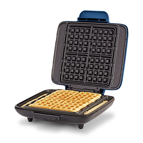 Dash DNMWM455BU Deluxe No-Drip Belgian Iron 1200W Maker Machine For Waffles, Hash Browns, or Any Breakfast, Lunch, & Snacks with Easy Clean, Non-Stick + Mess Free Sides, Cobalt Blue