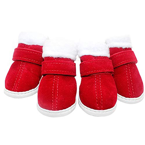 LLNstore Puppy Dog Shoes Red Snow Boots Puppy Dog Shoes Pet Warm Shoes Anti-Slip Thicken Puppy Booties for Puppy Dogs Chihuahua 4Pcs (XXS)