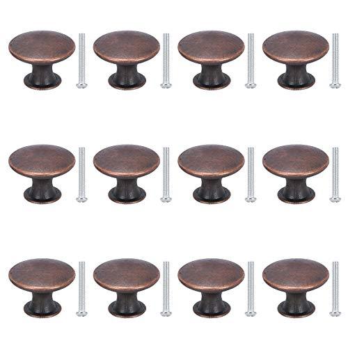 KAILEE 12pcs Pomo Armario Bronce Rojo Redondo Pomos y Tiradores Muebles 30mm Perillas para Cajones Gabinete Cocina Baño Tocador