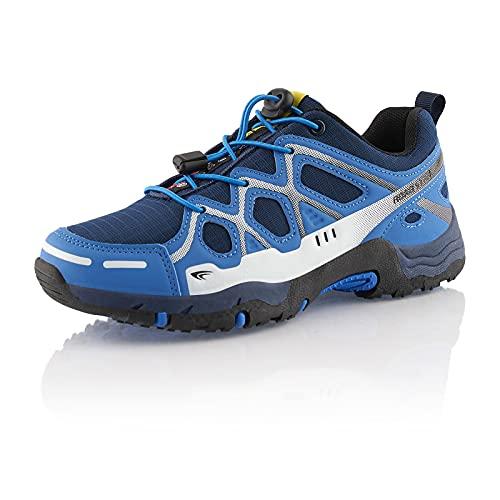 Fusskleidung® Damen Herren Wanderschuhe atmungsaktive Trekkingschuhe leichte Laufschuhe Blau Weiß EU 39
