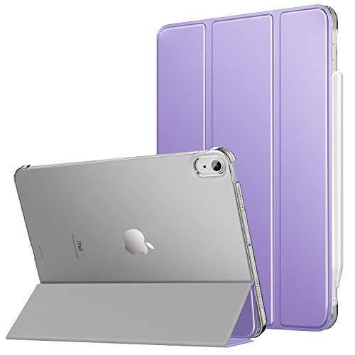 MoKo Hülle Kompatibel mit iPad Air 4. Generation 2020 iPad 10.9 Zoll2020 Tablet, [Unterstützt 2. Gen iPencil Laden] PU Leder Tasche Transluzent Rückseite Schutzhülle Auto Schlaf/Wach, Taro Violett