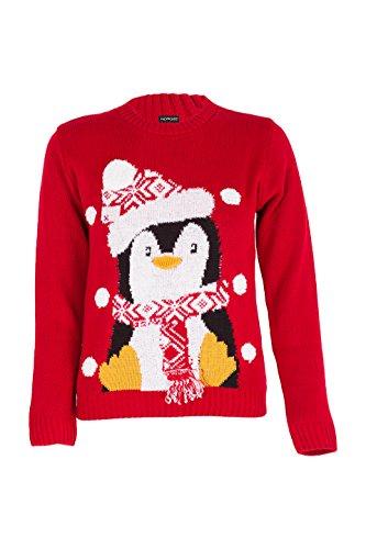 NOROZE Jungen Mädchen Unisex Weihnachten 3D Pullover Kinder Xmas Sankt Schneemann Rentier Pinguin Pullover Pulli (Pinguin Rot, 9-10 Jahre)