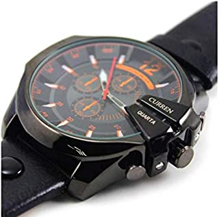 Curren Casual Man Watches With Leather Strap And Black Color Case, Black Color Dial Curren-8176
