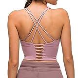 Nanomi Beauty Sujetador Deportivo de Tiras Acolchado para Mujer Workout Running Yoga Tops (Gris Morado, L)