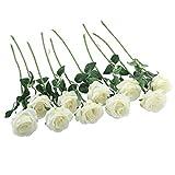 JaosWish 12pcs Rose Artificielle en Soie Bouquet de Rose Fleurs Fausse avec Tige Ajustable Longue Touche Réelle pour Décoration Mariage Restaurant Maison Bureau Chambre