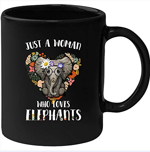 CICIDI Just a Woman Who Loves Elephants Mug,elephant Mug, Elephant Gift, Elephant Coffee Mug, Elephant Lover Gift, Elephant Mug Ceramic Mug 11 oz