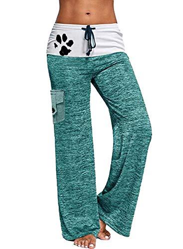 CORAFRITZ Yogahose für Hunde, mit Pfotenabdruckmotiv, mit Taschen, dehnbar, weites Bein Gr. 36, grün