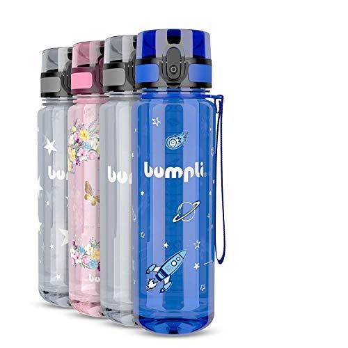 bumpli® Kinder Trinkflasche mit Weltraum-Motiv - auslaufsicher & Kohlensäure geeignet - BPA-Freie Kindertrinkflasche mit Fruchteinsatz - Perfekt für Schule, Kindergarten, Sport - 500ml
