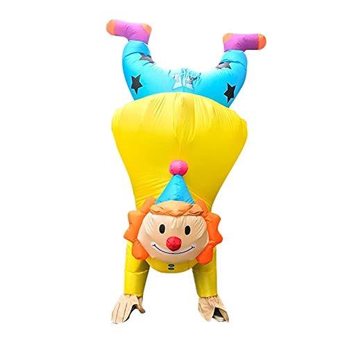 MOSHANG Adulto de Halloween Trajes inflables, Altura Conveniente Conveniente for 4.9ft-6.2t, muñecas Payaso invertidas, Trajes de Juegos de rol, Resistente, de Color Amarillo (Size : Adult Clown)