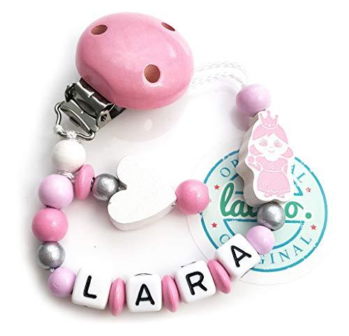 LALALO prinses fopspeen ketting met naam, roze, hart, baby fophouder van hout, handgemaakte individuele naamketting voor geboorte, verjaardag, Kerstmis, doop