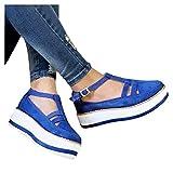 JHGF Transpirable Cuñas Sandalias de las Mujeres de Tacones Altos de Verano Punta Redonda Hebilla Correa Bombas Casual Sola Zapatos Mujer Sandalia
