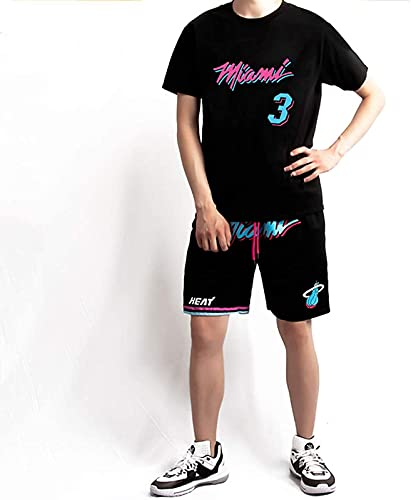 Cestino da Uomo da Donna 3# Wade Basket Basket Basket, Giocatore di Pallacanestro Gioventù/Adulto Manica Corta da Pallacanestro + Pantaloncini Set, Top, Giù, Nero, Manica Corta, 1 Set - M