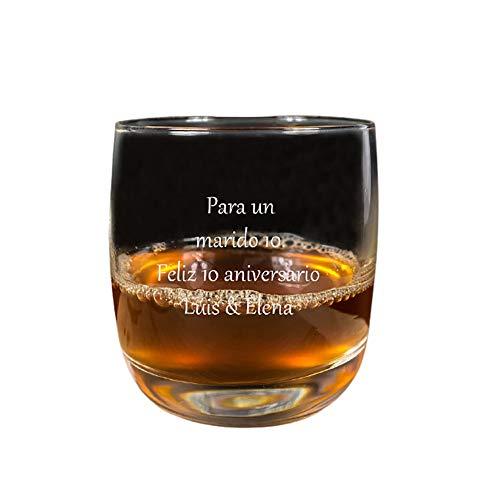 Calledelregalo Regalo para Hombres Personalizable: Vaso de Whisky Grabado con el Texto Que tú Quieras (Vaso de Whisky con Texto)