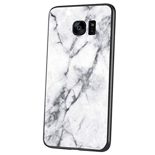 Jinghuash Compatible avec Samsung Galaxy S7 Coque Marbre Motif Verre Trempé Housse Etui de Protection Ultra Mince TPU Silicone Étui Antichoc Rigide Bumper Case per Galaxy S7,Blanc