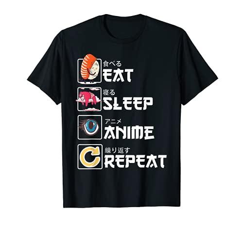 Kawaii Manga Sushi - Eat Sleep Anime Repeat - Cute Anime T-Shirt