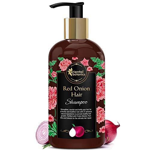Oriental Botanics Red Onion Hair Shampoo, 300ml - With Red Onion Oil, 27 Botanical Actives, Biotin, Argan Oil, Caffeine, Protein, Controls Hair Loss & Supports Healthy Hair Growth