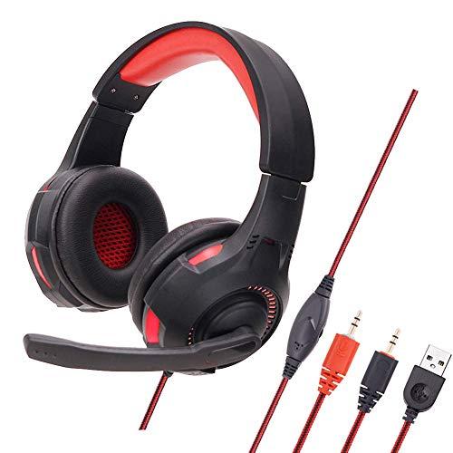 MZZYP Auriculares de Juegos para PC/computadora, Auriculares estéreo sobreoríperos con luz de luz LED, Aislamiento de Ruido y Diadema Ajustable (no Compatible con PS4 / Xbox One), Rojo (Color : Red)
