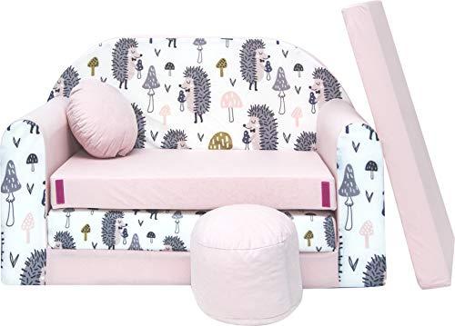 Pro Cosmo Juego de sofá infantil 3 en 1 + taburete acolchado y cojín – HX1 rosa 168 x 98 x 59 cm