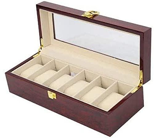 Caja de almacenamiento de reloj de 6 dígitos Caja de almacenamiento de la caja de exhibición de la pintura de caoba Caja de almacenamiento de escritorio (31* 12* 9CM)