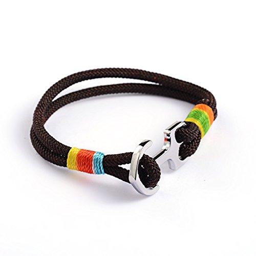 Miniblings Pulsera de Anclaje Cuerda de Escalada Cuerda de Escalada Marron Jamaica Reggae - joyería de Moda Hechos a Mano - Senoras de la Pulsera Chica