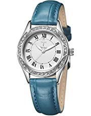 5403bdd0ef YOSIMI レディース 腕時計 ネイビーブルー レザー クォーツ 時計 アナログ ウオッチ 女性用