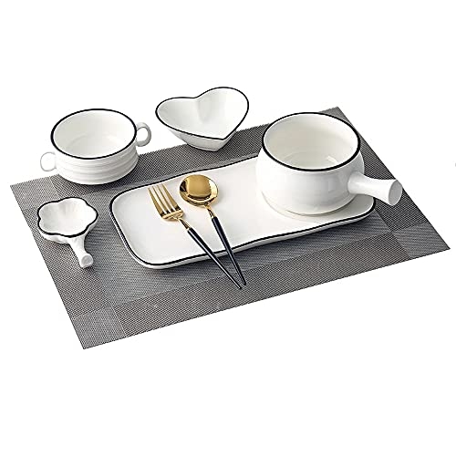 Hanpiyigcp Platos, Platos de Desayuno y vajilla establecidos Platos creativos Cocina hogar (Color : C)