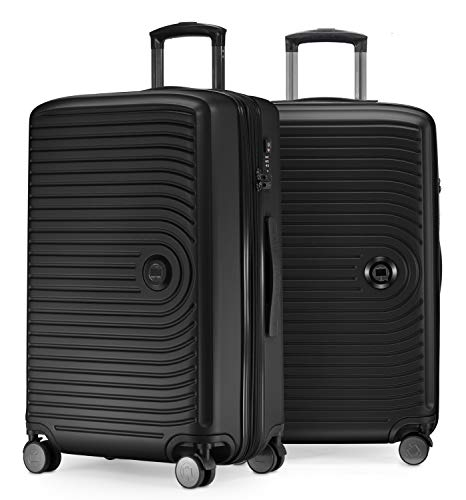 HAUPTSTADTKOFFER - Mitte - 2er Kofferset Trolley-Set + Zwei Koffergurte, Rollkoffer mit Dehnfalte 65cm, ABS, TSA, Schwarz