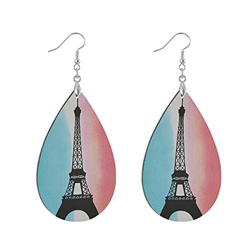 1 par de pendientes de madera con forma de gota de agua de la torre Eiffel de hierro de París pintado de madera pendiente de gota para las mujeres, Teardrop, Madera Cobre Plata,
